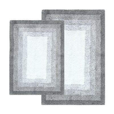 Whitney Ombr� Border Reversible 2 Piece Bath Rug Set Color: High Rise Gray