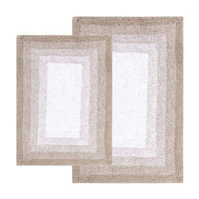 Whitney Ombr� Border Reversible 2 Piece Bath Rug Set Color: Doeskin Beige