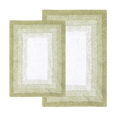 Whitney Ombr� Border Reversible Bath Rug Set Color: Nile Green