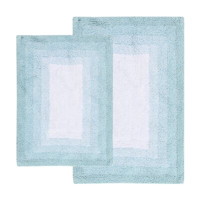 Whitney Ombr� Border Reversible Bath Rug Set Color: Porcelain Blue