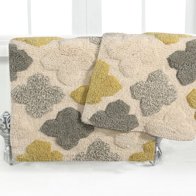 Alloy Moroccan Tile 2 Piece Bath Rug Set Color: Willow