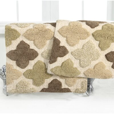 Alloy Moroccan Tile 2 Piece Bath Rug Set Color: Khaki