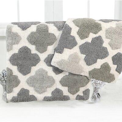 Alloy Moroccan Tile 2 Piece Bath Rug Set Color: Gray