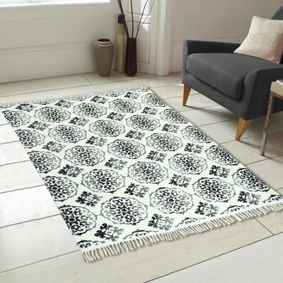 Fuga Chindi Printed Vintage Hand Woven Gray Indoor Area Rug