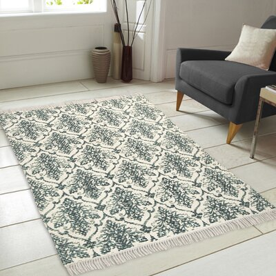 Fuga Chindi Printed Vintage Hand Woven Teal Indoor Area Rug
