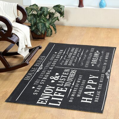 House Rules Hand-Woven Charcoal Area Rug Rug Size: 2 x 3