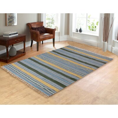 Lori Tropical Hand-Woven Blue Area Rug