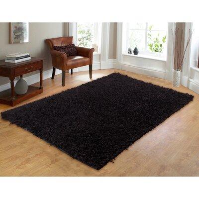 Comfy Hand-Woven Shag Black Area Rug Rug Size: 73 x 93