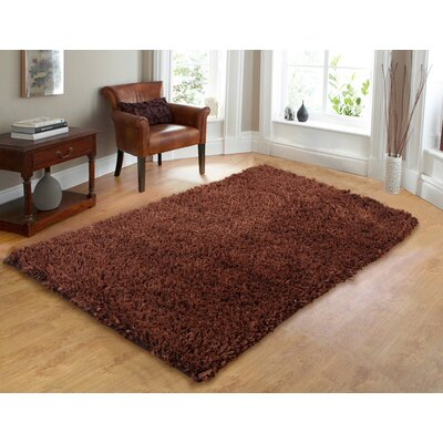 Comfy Hand-Woven Shag Cocoa Area Rug Rug Size: 73 x 93