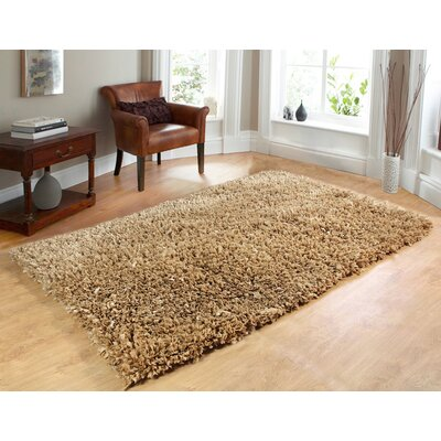 Comfy Hand-Woven Shag Taupe Area Rug Rug Size: 5 x 7