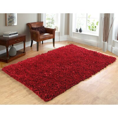 Comfy Hand-Woven Shag Red Area Rug Rug Size: 73 x 93