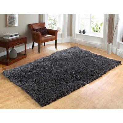 Comfy Hand-Woven Shag Gray Area Rug Rug Size: 73 x 93