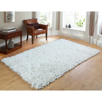 Comfy Hand-Woven Shag White Area Rug Rug Size: 5 x 7