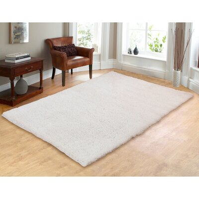 Hand-Woven Shag White Area Rug Rug Size: 5 x 7
