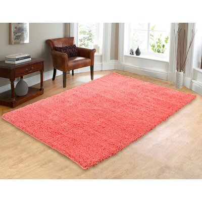 Hand-Woven Shag Coral Area Rug Rug Size: 5 x 7