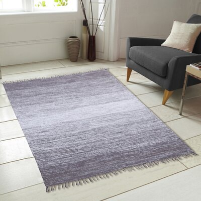 Ombre Fringe Cotton Hand Woven Gray Area Rug Rug Size: 73 x 93