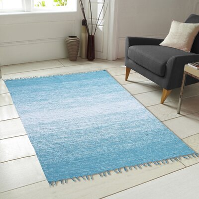 Ombre Fringe Cotton Hand-Woven Blue Area Rug Rug Size: 73 x 93
