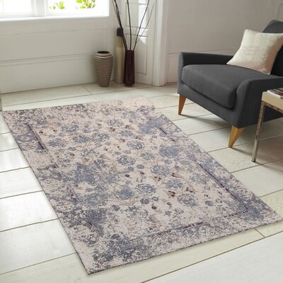 Nebula Chenille Natural/Linen/Smoke Blue Area Rug Rug Size: 5 x 7