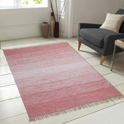 Ombre Fringe Cotton Hand-Woven Pink Area Rug Rug Size: 73 x 93