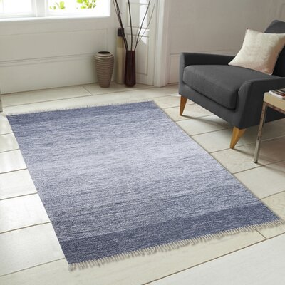 Ombre Fringe Cotton Hand-Woven Blue Area Rug Rug Size: 5 x 7