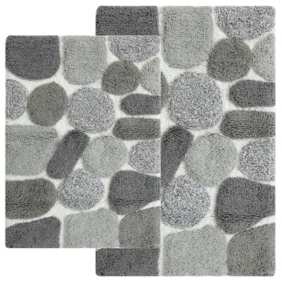 Hempstead 2 Piece Bath Rug Set Color: Gray