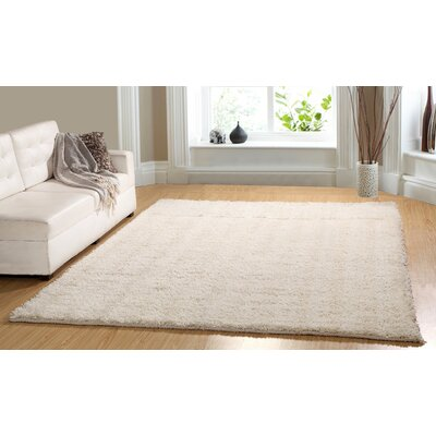 Hand-Woven Shag Ivory Area Rug Rug Size: 73 x 93