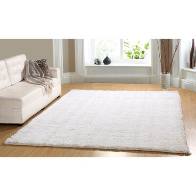 Hand-Woven Shag White Area Rug Rug Size: 73 x 93