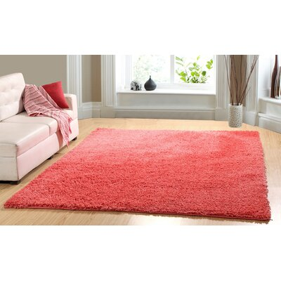 Hand-Woven Shag Coral Area Rug Rug Size: 73 x 93