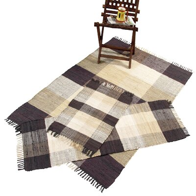 Chesapeake Check Chindi Natural 3 Piece Accent Area Rug Set