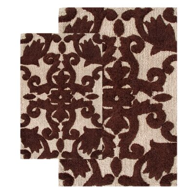 Iron Gate 2 Piece Bath Rug Set Color: Linen / Chocolate