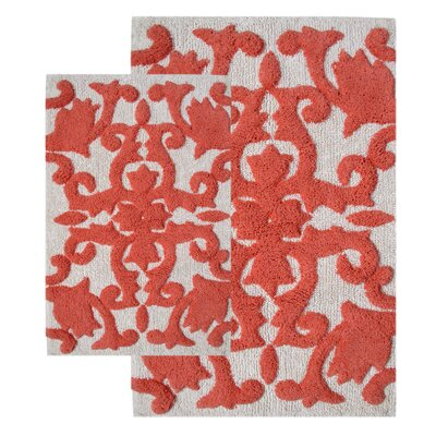 Kaori 2 Piece Bath Rug Set Color: White / Coral
