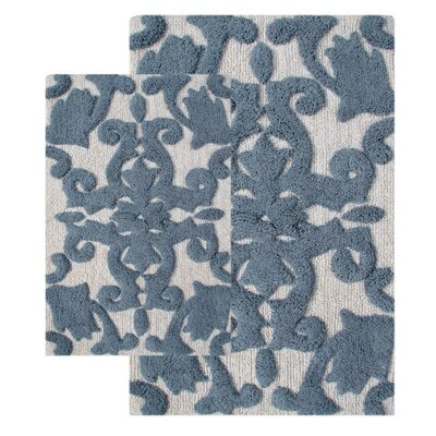 Iron Gate 2 Piece Bath Rug Set Color: White / Gray
