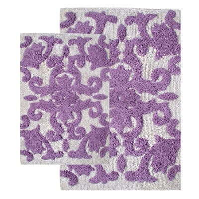 Iron Gate 2 Piece Bath Rug Set Color: White / Lilac