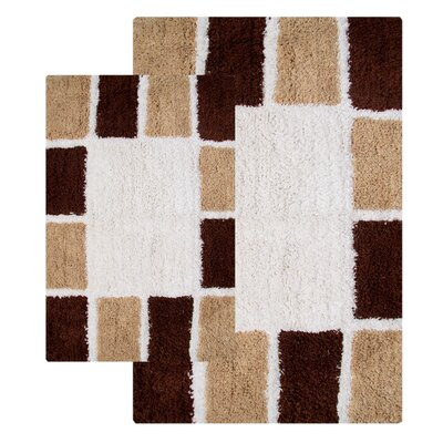 Mosaic Tiles 2 Piece Bath Rug Set Color: Chocolate