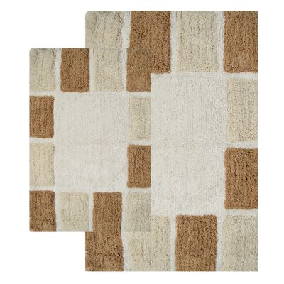 Mosaic Tiles 2 Piece Bath Rug Set Color: Natural and Linen