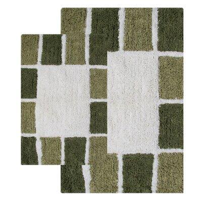 Mosaic Tiles 2 Piece Bath Rug Set Color: Peridot