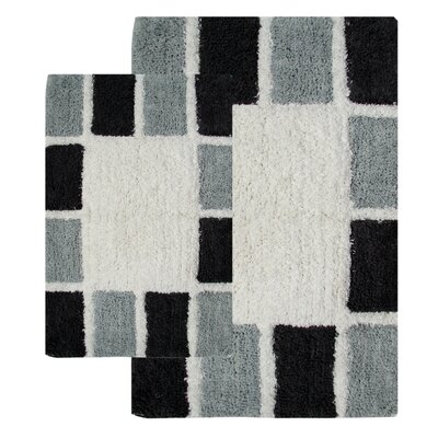 Mosaic Tiles 2 Piece Bath Rug Set Color: Silver/Gray
