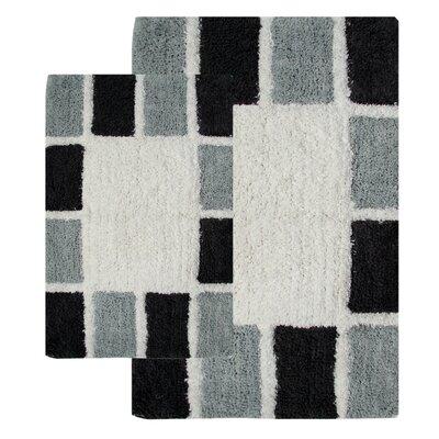 Mosaic Tiles 2 Piece Bath Rug Set Color: Silver and Grey