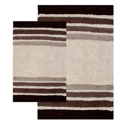 Tuxedo Stripe 2 Piece Bath Rug Set Color: Chocolate