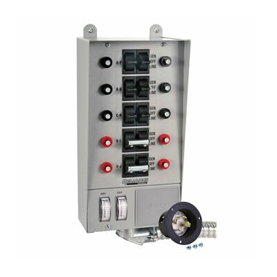 transfer switch with 10 circuit breaker rlc1002 on generator transfer