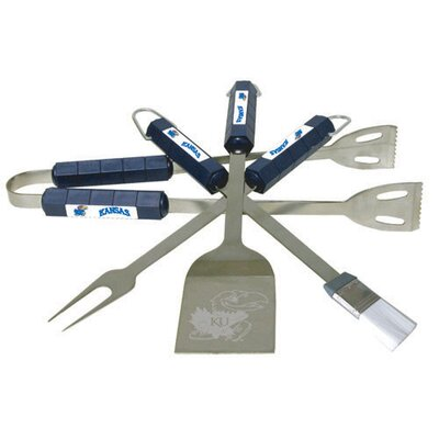 NCAA 4-Piece BBQ Grill Tool Set NCAA Team: Kansas
