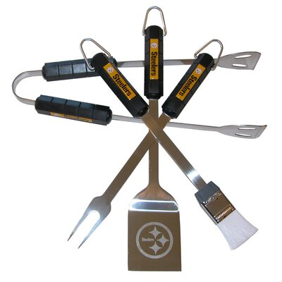 NFL 4-Piece BBQ Grill Tool Set NFL Team: Pittsburgh Steelers