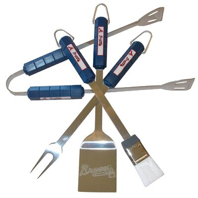 MLB 4-Piece BBQ Grill Tool Set MLB Team Atlanta Braves