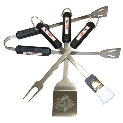 MLB 4-Piece BBQ Grill Tool Set MLB Team: Baltimore Orioles