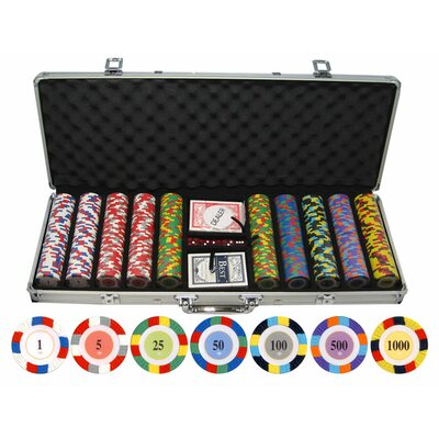 500 Piece Classic Clay Poker Chips Set 500-4block