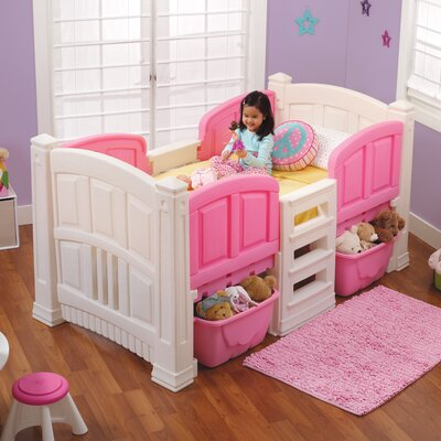 Twin Low Loft Bed with Storage Color: White/Pink