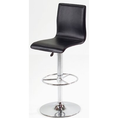 Shetler Adjustable Height Swivel Bar Stool Color: Brown, Upholstery: Silver