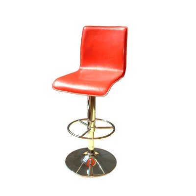 Shetler Adjustable Height Swivel Bar Stool Color: Red, Upholstery: Gold