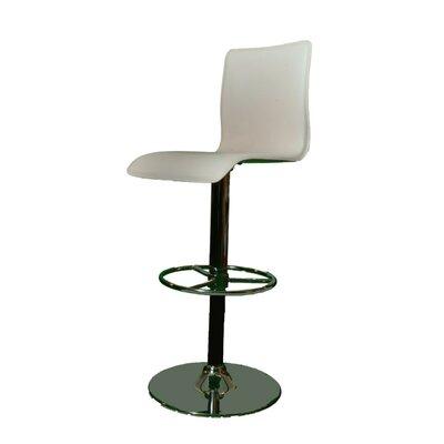 Shetler Adjustable Height Swivel Bar Stool Color: White, Upholstery: Black