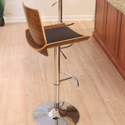 Vittorio Adjustable Height Swivel Bar Stool Finish: Walnut / Brown